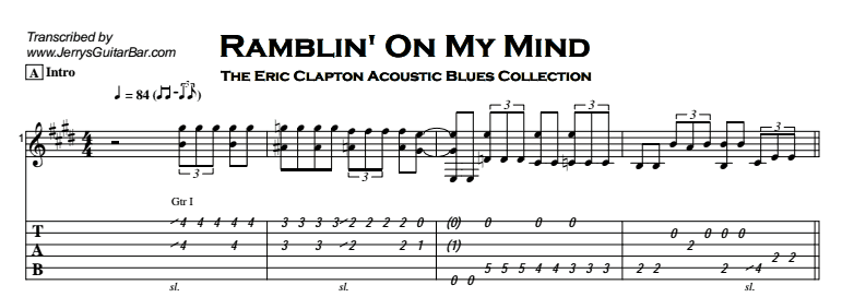 Eric Clapton - Ramblin' On My Mind Tab