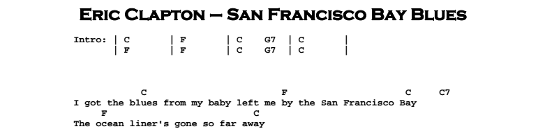 Eric Clapton - San Francisco Bay Blues Chords & Songsheet