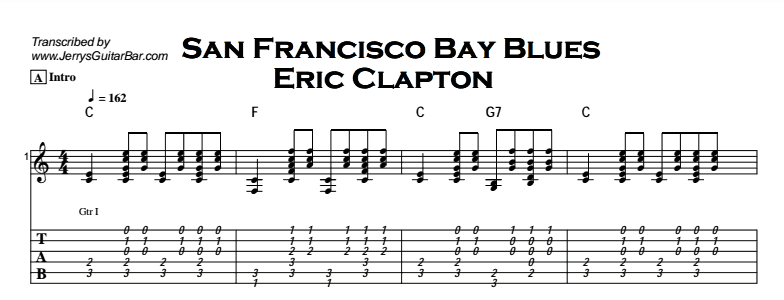 Eric Clapton - San Francisco Bay Blues Tab