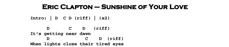 Eric Clapton - Sunshine of Your Love (acoustic) Chords & Songsheet