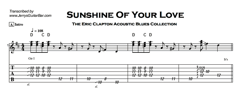 Eric Clapton - Sunshine of Your Love (acoustic) Tab