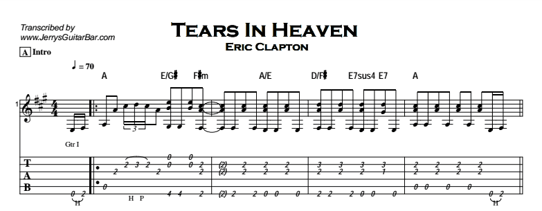Eric Clapton - Tears in Heaven | Guitar Lesson, Tab & Chords