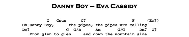 Eva Cassidy – Danny Boy Chords & Songsheet
