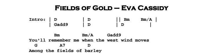 Eva Cassidy Fields Of Gold Guitar Lesson Tab Chords Jgb