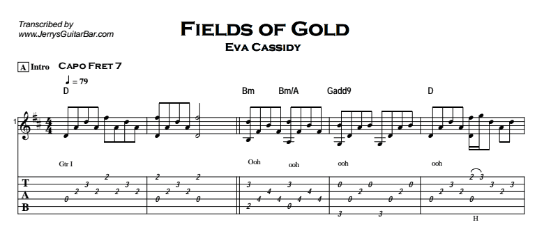 Eva Cassidy - Fields Of Gold Tab