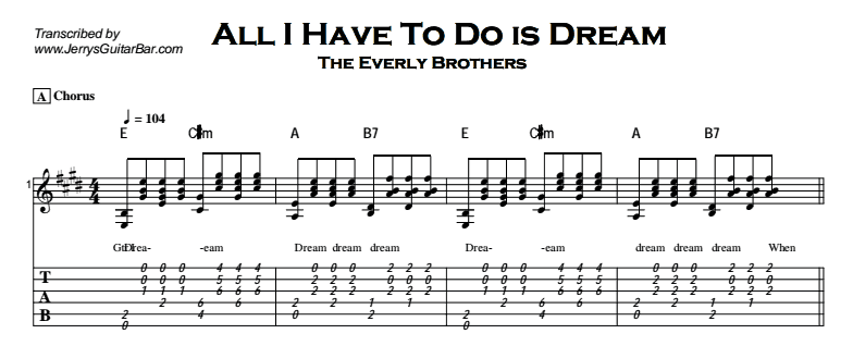 Everly Brothers - All I Have To Do Is Dream | Guitar Lesson, Tab ...