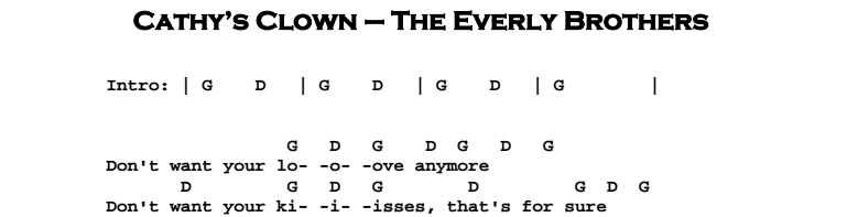 The Everly Brothers - Cathy's Clown Chords & Songsheet