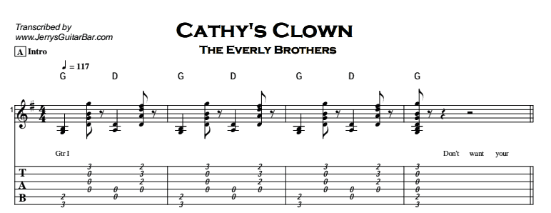 The Everly Brothers - Cathy's Clown Tab