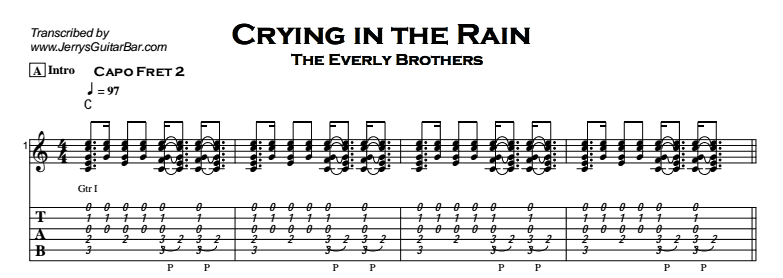 The Everly Brothers - Crying In The Rain Tab