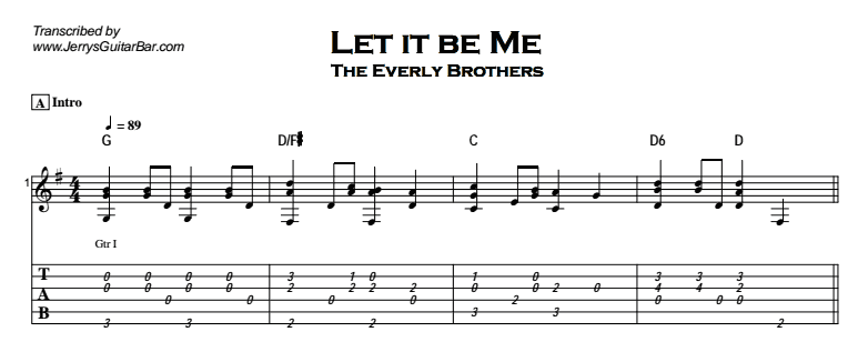 The Everly Brothers - Let It Be Me Tab
