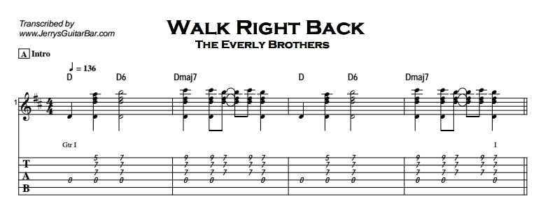 The Everly Brothers - Walk Right Back Tab