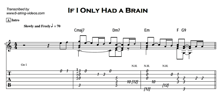 Fingerstyle Instrumental - If I Only Had a Brain Tab