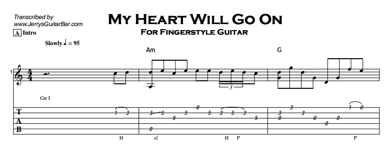 Fingerstyle Instrumental - My Heart Will Go On Tab