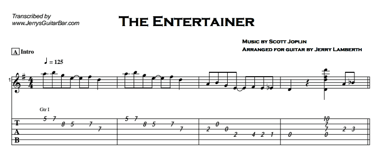 Fingerstyle Instrumental - The Entertainer Tab