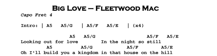Fleetwood Mac – Big Love Chords & Songsheet