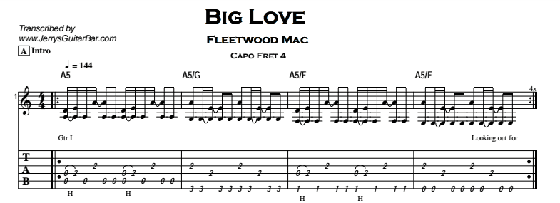 big love fleetwood mac guitar chords