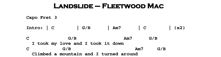 Fleetwood Mac – Landslide Chords & Songsheet