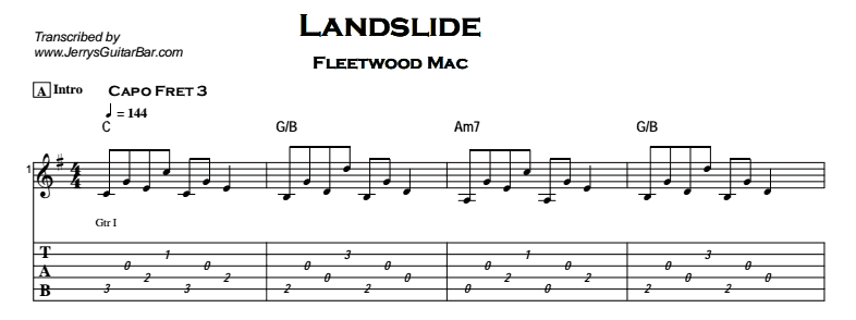 Fleetwood Mac Landslide The Dance Version Jerrys Guitar Bar