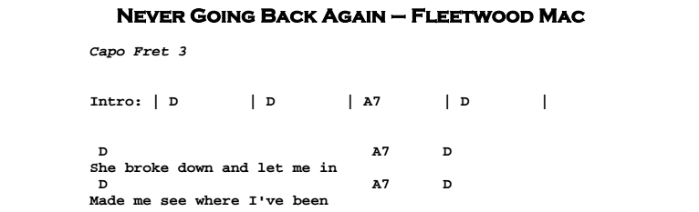 Fleetwood Mac – Never Going Back Again - Guitar Lesson, Tab & Chords