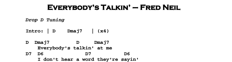 Fred Neil – Everybody's Talkin' Chords & Songsheet