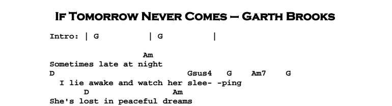 Garth Brooks – If Tomorrow Never Comes Chords & Songsheet