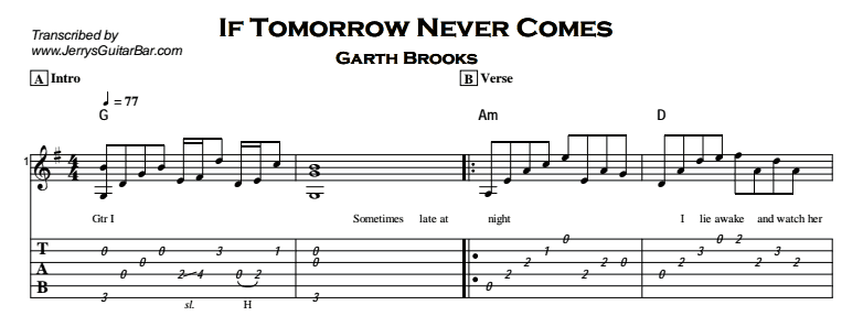 If Tomorrow Never Comes Guitar Lesson Tab Chordsjerrys Guitar Bar