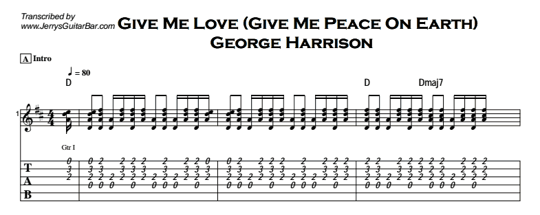 George Harrison - Give Me Love - Guitar Lesson by Jerry\'s Guitar Bar