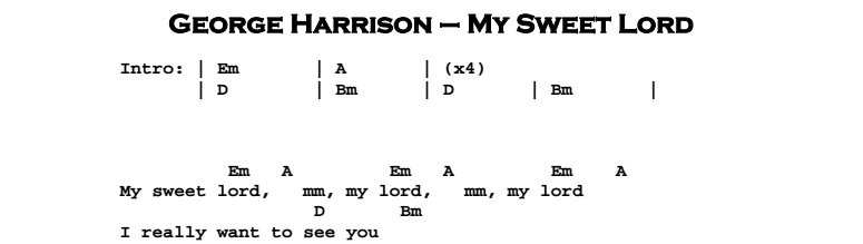 My Sweet Lord Guitar Lesson Tab Chords Jerrys Guitar Bar