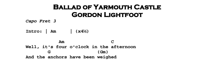 Gordon Lightfoot – Ballad of Yarmouth Castle Chords & Songsheet