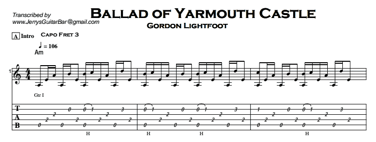 Gordon Lightfoot – Ballad of Yarmouth Castle Tab