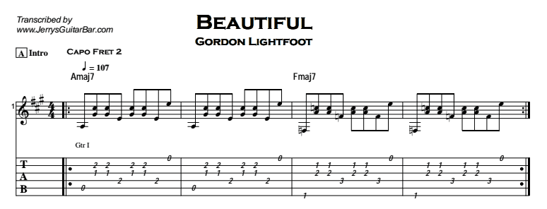 Gordon Lightfoot – Beautiful Tab