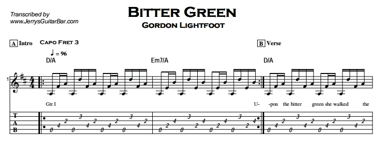 Gordon Lightfoot – Bitter Green Tab