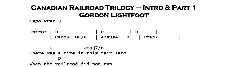 Gordon Lightfoot – Canadian Railroad Trilogy Chords & Songsheet