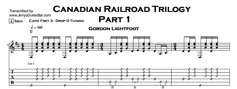 Gordon Lightfoot – Canadian Railroad Trilogy Tab