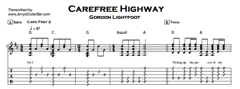 Gordon Lightfoot – Carefree Highway Tab