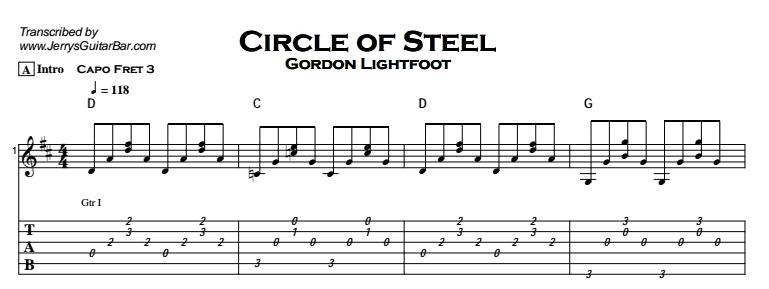 Gordon Lightfoot – Circle of Steel Tab