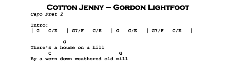 Gordon Lightfoot – Cotton Jenny Chords & Songsheet