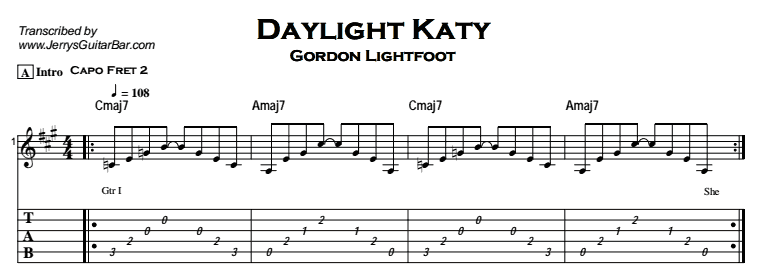 Gordon Lightfoot – Daylight Katy Tab