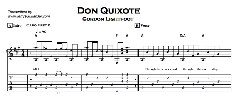 Gordon Lightfoot – Don Quixote Tab
