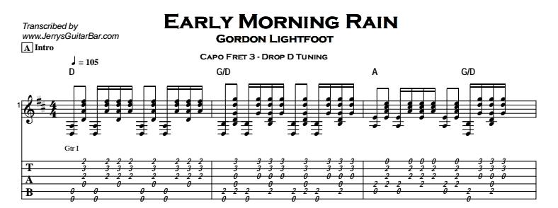 Gordon Lightfoot – Early Morning Rain Tab