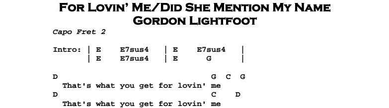 Gordon Lightfoot – For Lovin' Me/Did She Mention My Name Chords & Songhseet