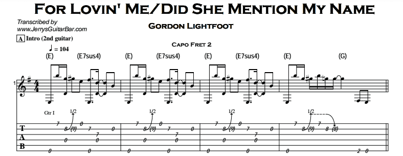 Gordon Lightfoot – For Lovin' Me/Did She Mention My Name Tab