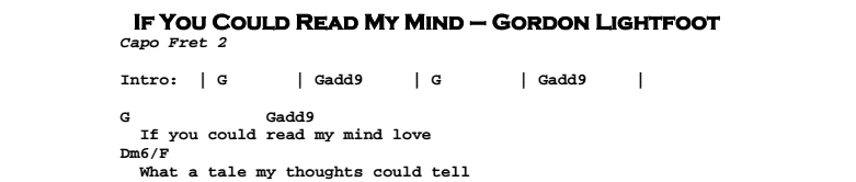 Gordon Lightfoot – If You Could Read My Mind Chords & Songsheet