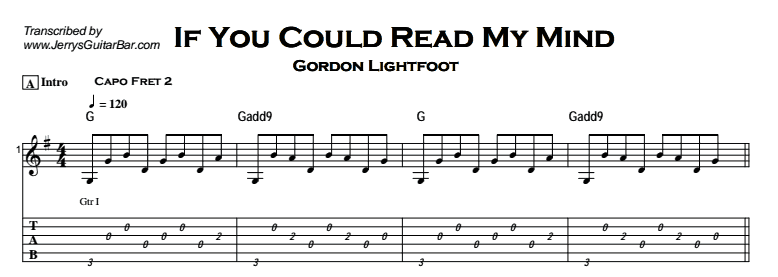 Gordon Lightfoot – If You Could Read My Mind Tab