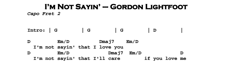 Gordon Lightfoot – I'm Not Sayin' Chords & Songsheet
