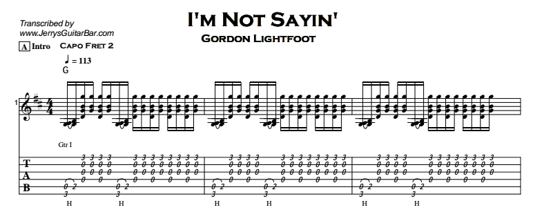 Gordon Lightfoot – I'm Not Sayin' Tab