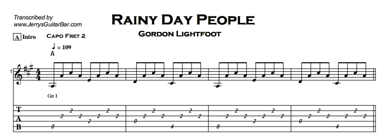 Gordon Lightfoot – Rainy Day People Tab