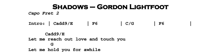 Gordon Lightfoot – Shadows Chords & Songsheet