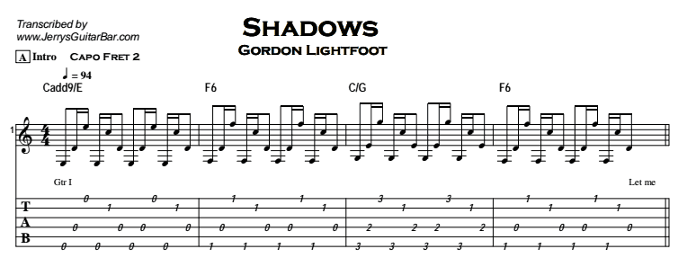 Gordon Lightfoot – Shadows Tab