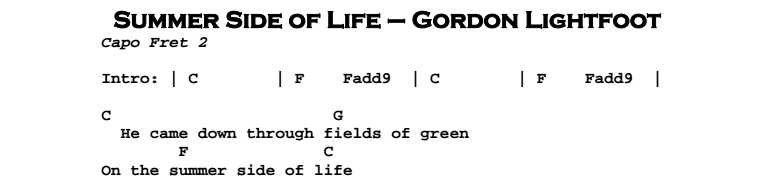 Gordon lightfoot guitar chords